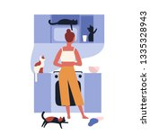 crazy cat lady standing in...   Shutterstock .eps vector #1335328943