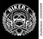 skull biker with tools and... | Shutterstock .eps vector #1335333509