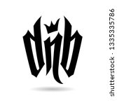 black letters dnb with crown on ... | Shutterstock .eps vector #1335335786