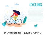 woman riding a bicycle in park... | Shutterstock .eps vector #1335372440