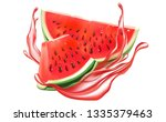 watermelon sliced of piece... | Shutterstock .eps vector #1335379463