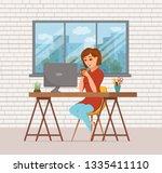 woman working on computer... | Shutterstock .eps vector #1335411110