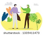 two young millionaires are... | Shutterstock .eps vector #1335411473