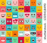emoticons pattern. emoji square ... | Shutterstock .eps vector #1335418490