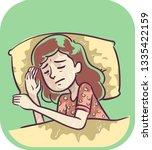 illustration of a sleeping girl ... | Shutterstock .eps vector #1335422159