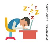 student tired on desk   student ... | Shutterstock .eps vector #1335438299