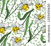 vector white narcissus floral...   Shutterstock .eps vector #1335450650