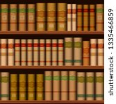 seamless library shelves with... | Shutterstock . vector #1335466859