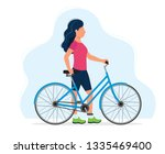 woman with a bicycle  concept... | Shutterstock .eps vector #1335469400