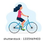 woman with a bicycle  concept... | Shutterstock .eps vector #1335469403
