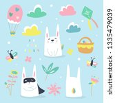 cute rabbits with spring... | Shutterstock .eps vector #1335479039