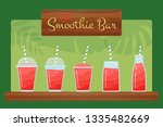 red natural fruit smoothie set. ... | Shutterstock . vector #1335482669