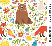 childish seamless pattern with... | Shutterstock .eps vector #1335485366