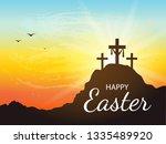 saviour's cross with sunrise... | Shutterstock .eps vector #1335489920