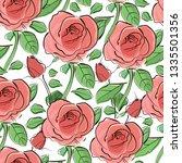 roses flowers.vector... | Shutterstock .eps vector #1335501356