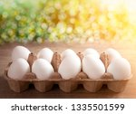 organic fresh chicken eggs in... | Shutterstock . vector #1335501599