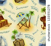 seamless pattern with travel... | Shutterstock . vector #133551278