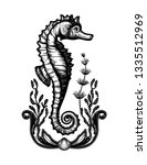 hand drawn seahorse with sea... | Shutterstock .eps vector #1335512969