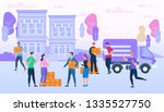 delivery service workers bring... | Shutterstock .eps vector #1335527750