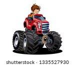 vector cartoon monster truck...   Shutterstock .eps vector #1335527930