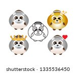 cute raccoon icon set for web... | Shutterstock .eps vector #1335536450