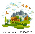 farm in scenic landscape of...   Shutterstock .eps vector #1335540923