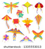 kites in shape of bird  fish or ... | Shutterstock .eps vector #1335553013