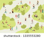 people park. active walk... | Shutterstock .eps vector #1335553280