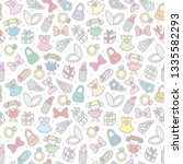 seamless pattern of girl items | Shutterstock . vector #1335582293