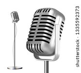 retro metal microphone with... | Shutterstock .eps vector #1335592373
