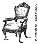 chair carved from locust wood... | Shutterstock .eps vector #1335593009