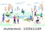 crowd of people performing... | Shutterstock .eps vector #1335611189