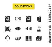 melody icons set with gong ...