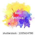 happy holi background. hinduism ... | Shutterstock .eps vector #1335614780