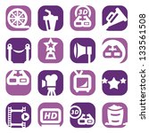 color movie icons set created... | Shutterstock .eps vector #133561508