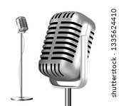 retro chrome microphone with... | Shutterstock . vector #1335624410
