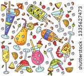 cocktails colorful doodle... | Shutterstock .eps vector #1335627473