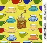 pattern with coffee grinder ... | Shutterstock .eps vector #1335637823