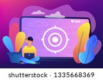 gamer in headset with laptop... | Shutterstock .eps vector #1335668369