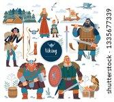 the vikings. viking flat... | Shutterstock .eps vector #1335677339