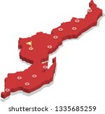 3d isometric volume view map of ... | Shutterstock .eps vector #1335685259