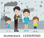 people in masks because of fine ... | Shutterstock .eps vector #1335690560
