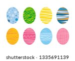 set of easter eggs with... | Shutterstock .eps vector #1335691139