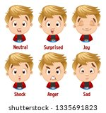 different moods of blond boy in ... | Shutterstock .eps vector #1335691823