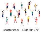 people holding smartphones in... | Shutterstock .eps vector #1335704270