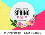 spring sale cute background... | Shutterstock .eps vector #1335723899