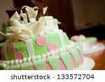 widding cake with pink flowers | Shutterstock . vector #133572704