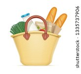 straw shopping bag with food.... | Shutterstock .eps vector #1335737906