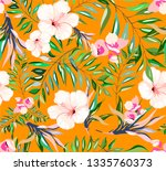 seamless tropical pattern with... | Shutterstock .eps vector #1335760373
