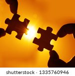 two hands trying to connect...   Shutterstock . vector #1335760946